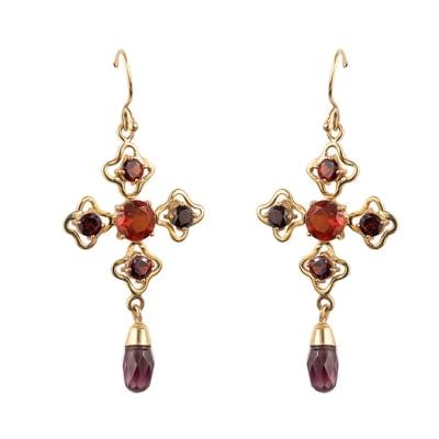 Yellow  Gold Garnet  Cross Earrings  image