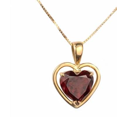 Yellow Gold Garnet  Heart Frame Wire Pendant image