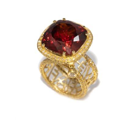 Iconic  Garnet  Yellow Gold Ring image