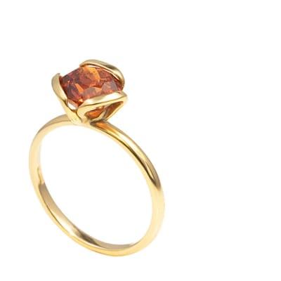 Yellow Gold Spessartite Garnet  Petal Ring  image