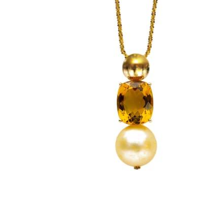 Golden  Pearl & Garnet  Pendant  image