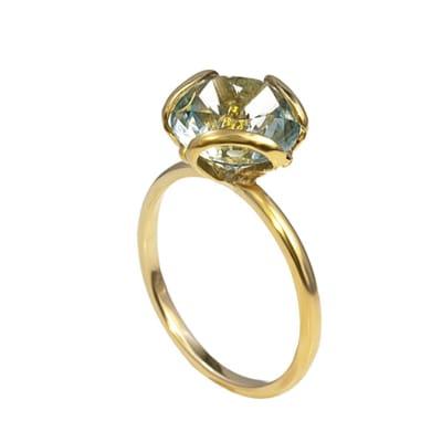Yellow Gold Green Blue Tourmaline  Petal Ring image