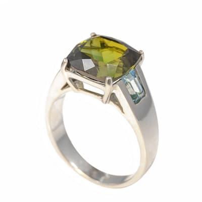 White Gold Tourmaline & Aquamarine  Ring  image