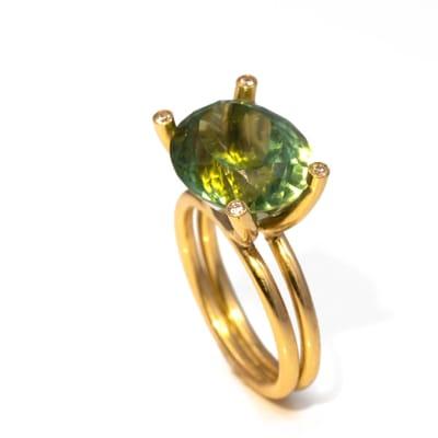 Yellow Gold Green Tourmaline  Boat Ring - $3,487 image