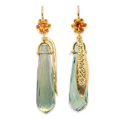 Yellow Gold  Briolette Green Tourmaline Spessartite & Yellow Sapphire  Earrings  image
