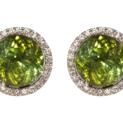 White Gold  Green Tourmaline & Diamond Cage Set  Stud Earrings  image