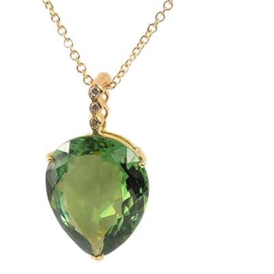 Green Tourmaline & Diamonds  Cage Pendant  image