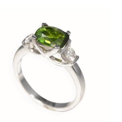 White Gold Tourmaline & Diamonds Green Ring  image