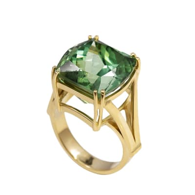 Yellow Gold Green Tourmaline  Double Claw Ring image