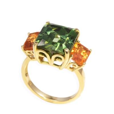 Yellow Gold Tourmaline & Garnet Green Trilogy Ring image