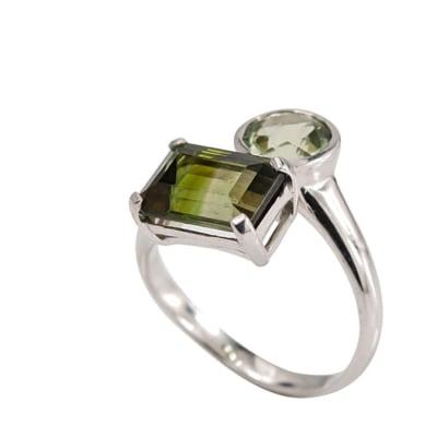 White Gold  Green Tourmaline  Overlap Ring image