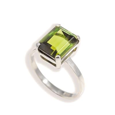 White Gold Green Tourmaline  Ring  image