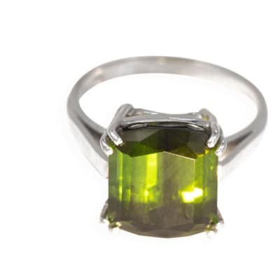 White Gold Green Tourmaline  Solitaire Ring image