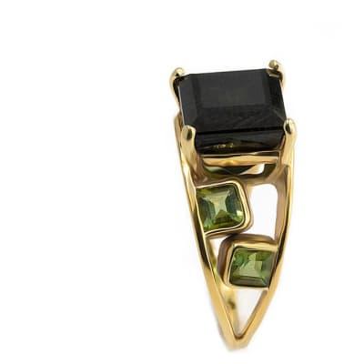 Yellow Gold Green Tourmaline  Split Shank Ring image