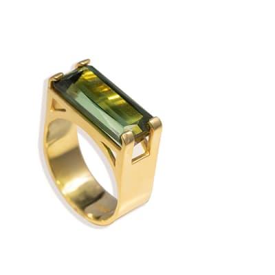 U Shank  Green Tourmaline  Yellow Gold Ring  image