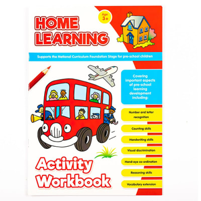 Home Learning  Pre-School Learning Skills Development   Activity Work Book Red image