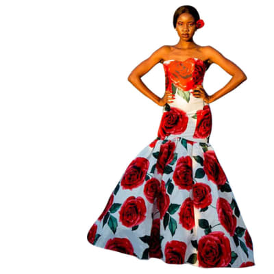 Haute couture - Afrocentric orange top with floral roses image