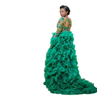 Haute couture - Afrocentric Emerald outfit with chiffon stitch image