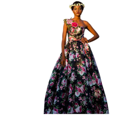 Haute couture - Full length black dress with pink and white floral image