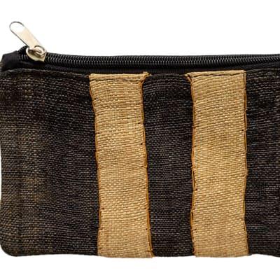 Purse Kuba Cloth Dark & Light Brown Strips image