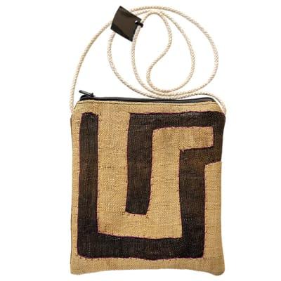 Sling Bags  Kuba Cloth Dark & Light Brown Zipped Bag image