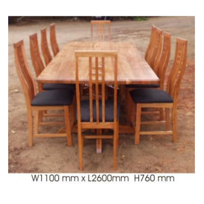 Dining table 10-seater with 2 turned legs image