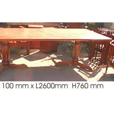 Dining table 10-seater with 2 turned legs teak image
