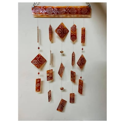 Large red swirly glass wind chime image