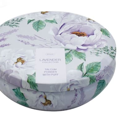 Face Care Lavender Flower's Talcum Powder with Puff  image