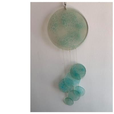 Light Blue Glass Discs with Patterns Wind Chimes image