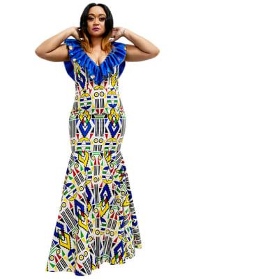 Long Ankara dress - white, blue image