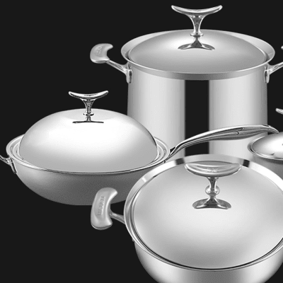 Lucuku 304 stainless steel wok frying pan soup pot milk pot four-piece - 1430949527 image