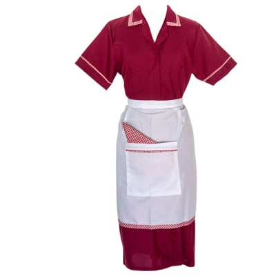 Maids Maroon with Apron Sizes 10 - 18 image