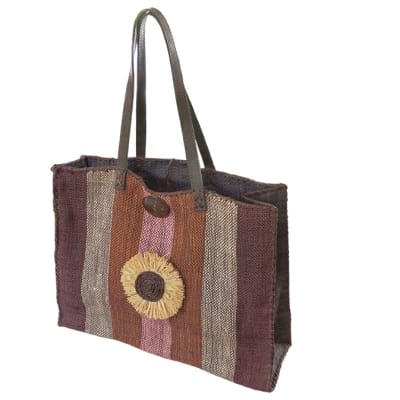 Shoulder Bag  Malagash  with Shades of Brown Grey Purple Bands image