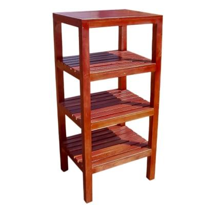 Medium Slatted Wood Storage Shelf Unit  4 Tier   image