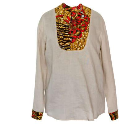 Men's Long Sleeved  Chitenge & Linen Shirt White Linen Orange Chitenge Trim image