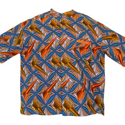 Men's Short Sleeved  Chitenge Shirt  Blue Gold Square Patterns image