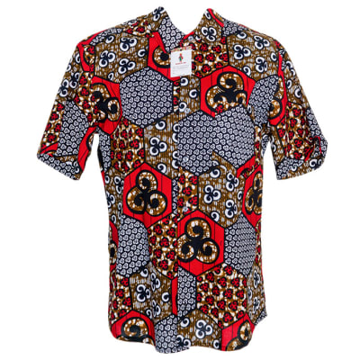 Men's Short Sleeved  Chitenge Shirt  Grey with Red Patterns image