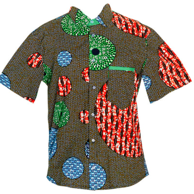 Men's Short Sleeved  Chitenge Shirt Grey with Red Green and Blue Circles image