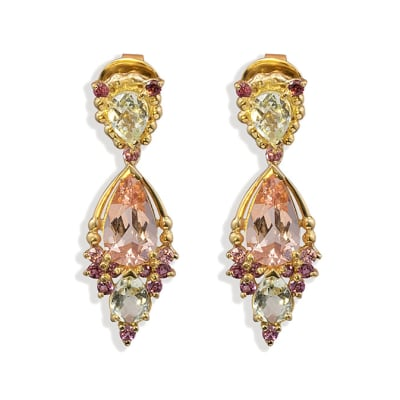 Yellow Gold Morganite  Cage Earrings  image