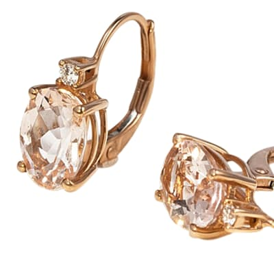 Rose Gold  Morganite & Diamond Four Claw  Lockable Earrings  image