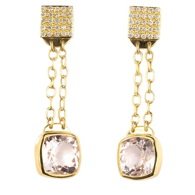 Yellow Gold  Morganite & Diamond Girdle-Wrap  Drop Earrings  image