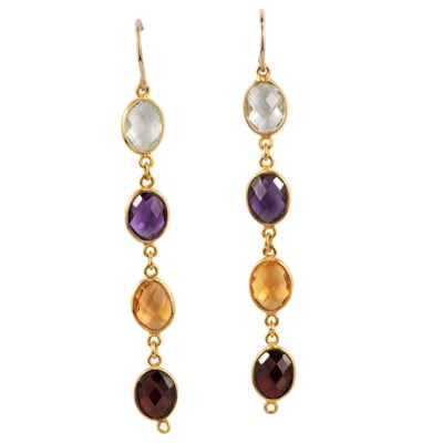 Yellow Gold  Multi-Gemstone  Drop Earrings  image