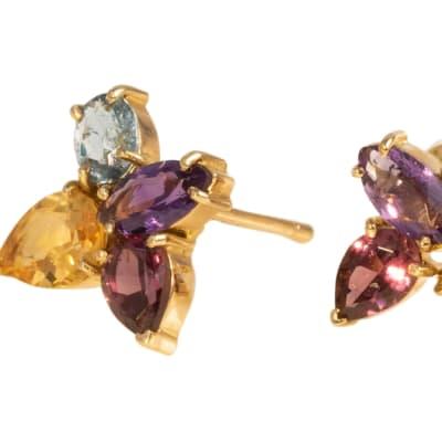 Yellow Gold  Multi-Gemstone  Flower Earring  image