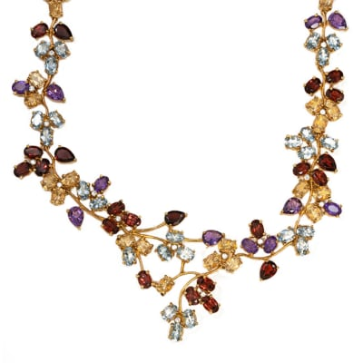 Multi Gem Flower  Yellow Gold Necklace  image