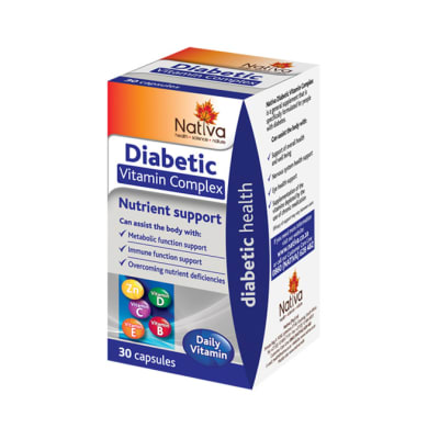 Diabetic Vitamin Complex  Nutrient Support Supplement  30 Capsules  image