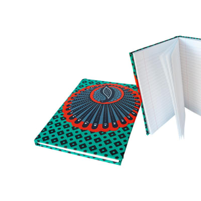 Notebook Blue, Red  Chitenge Material Small Covered Notebook image