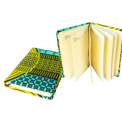 Notebook  Blue, Yellow Chitenge Material  Large Covered Notebook image