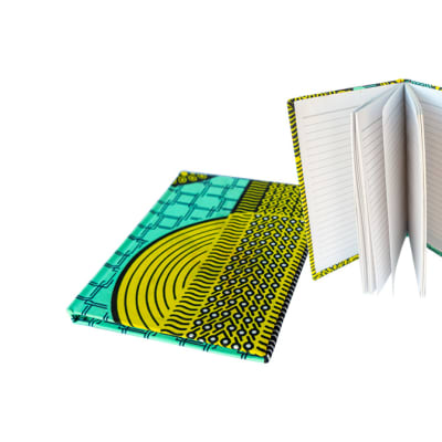 Notebook  Blue, Yellow Chitenge Material  Small Covered Notebook image
