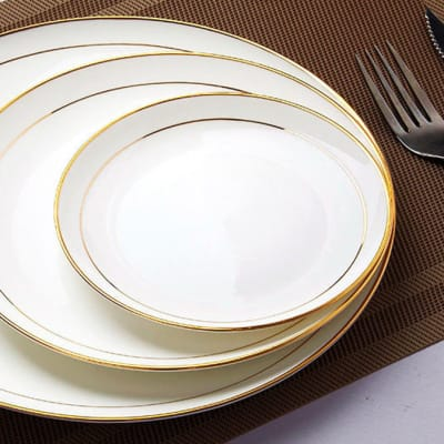 Plate Set Pasta Plate Bone China Flat Plate - 35850785239 image